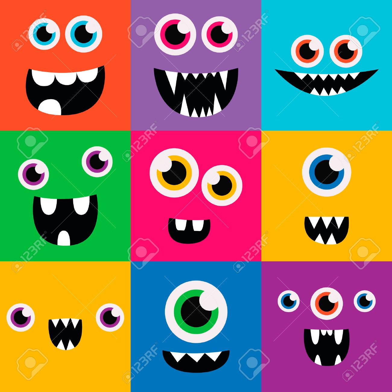 cartoon monster faces vector set. cute square avatars and icons - 42584427