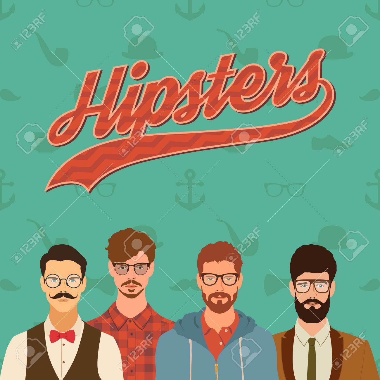 flat hipster characters. stylish young guys with glasses background. vector illustration. eps10 - 42584431