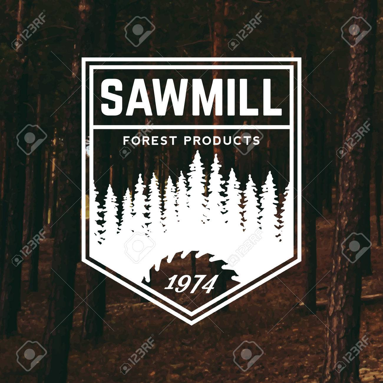 sawmill label on forest background - 42584438