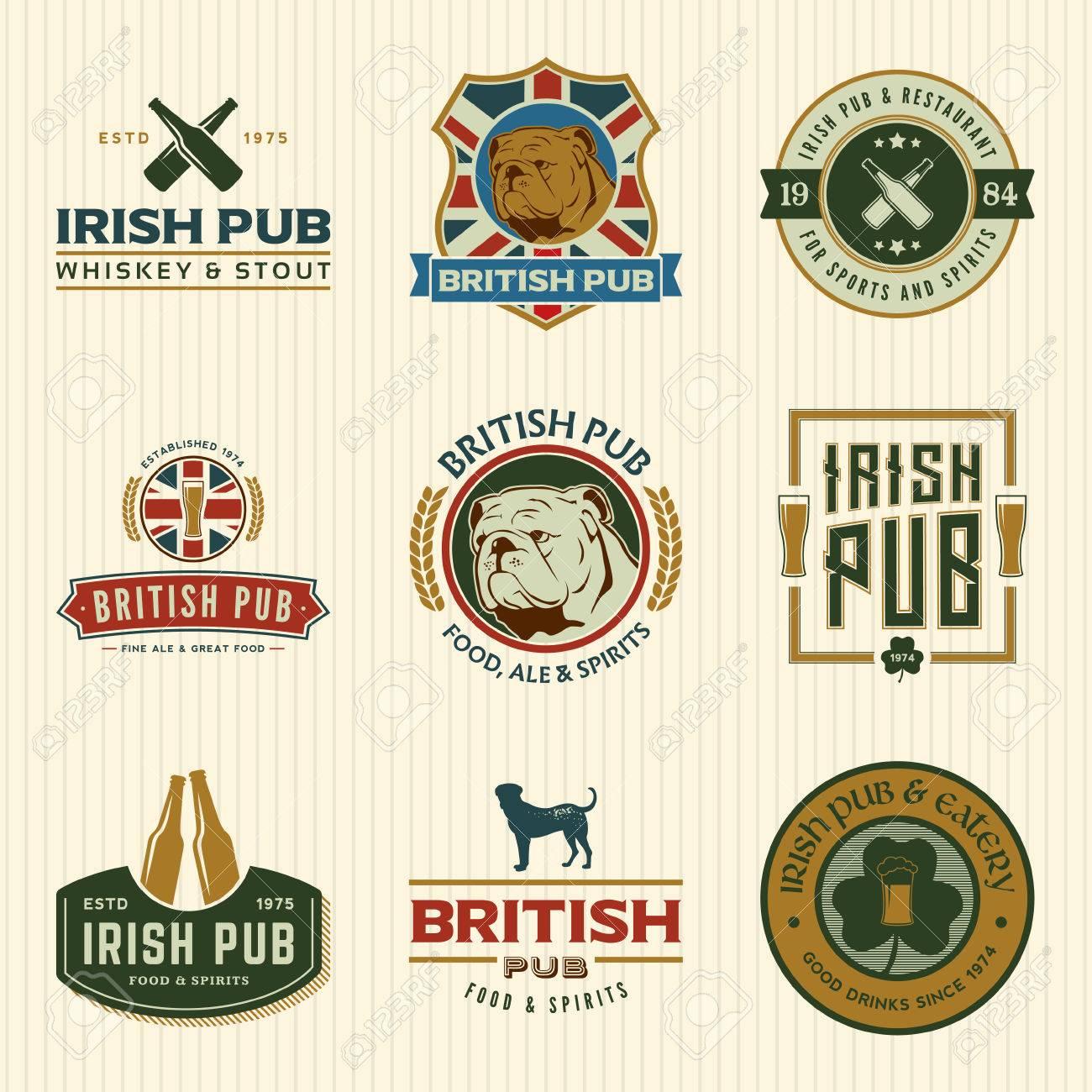 vector set of irish and british pub labels, badges and design elements - 42584452