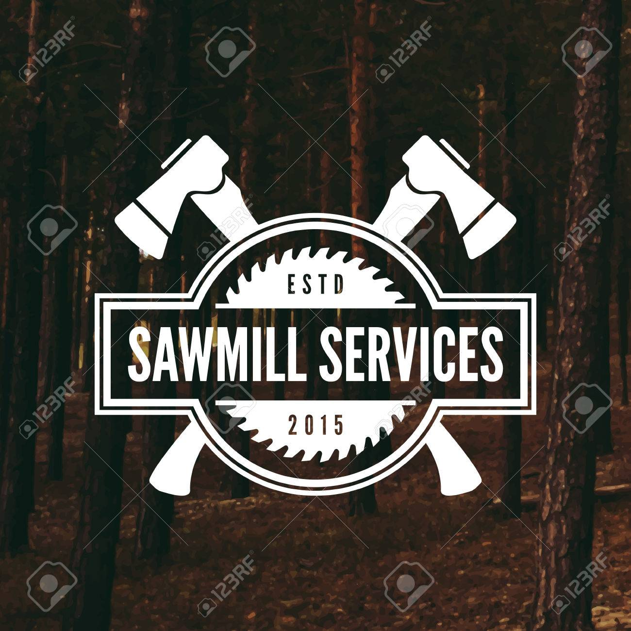 sawmill label on forest background - 42584456