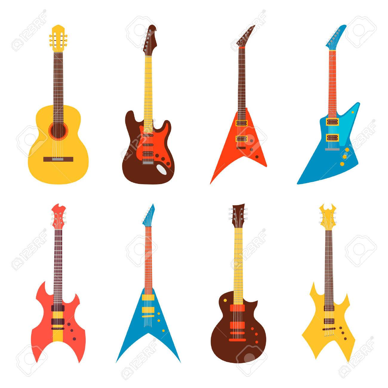 acoustic and electric guitars set. flat style vector illustration - 42858025