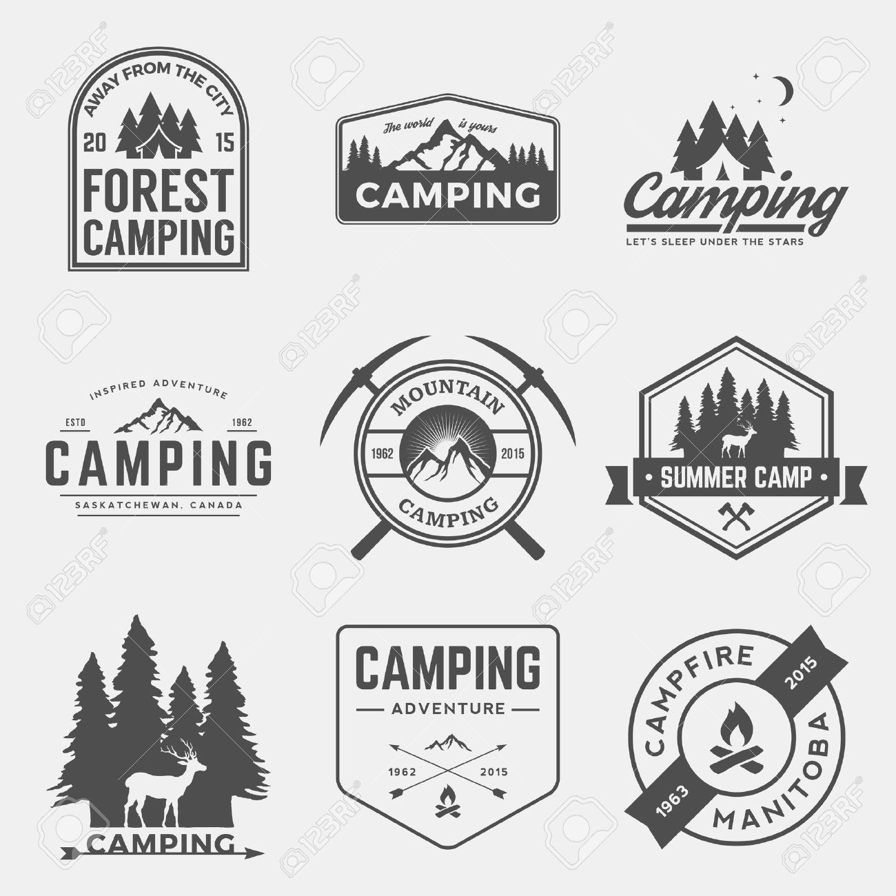 vector set of camping and outdoor adventure vintage logos, emblems, silhouettes and design elements - 42861382