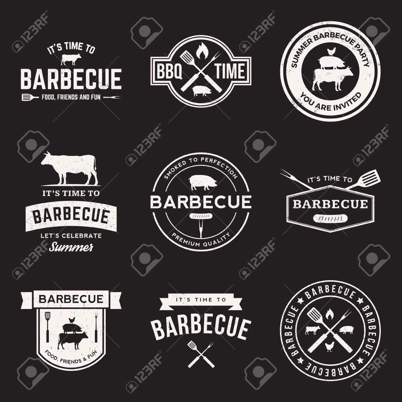 vector set of barbecue labels, badges and design elements - 42861965
