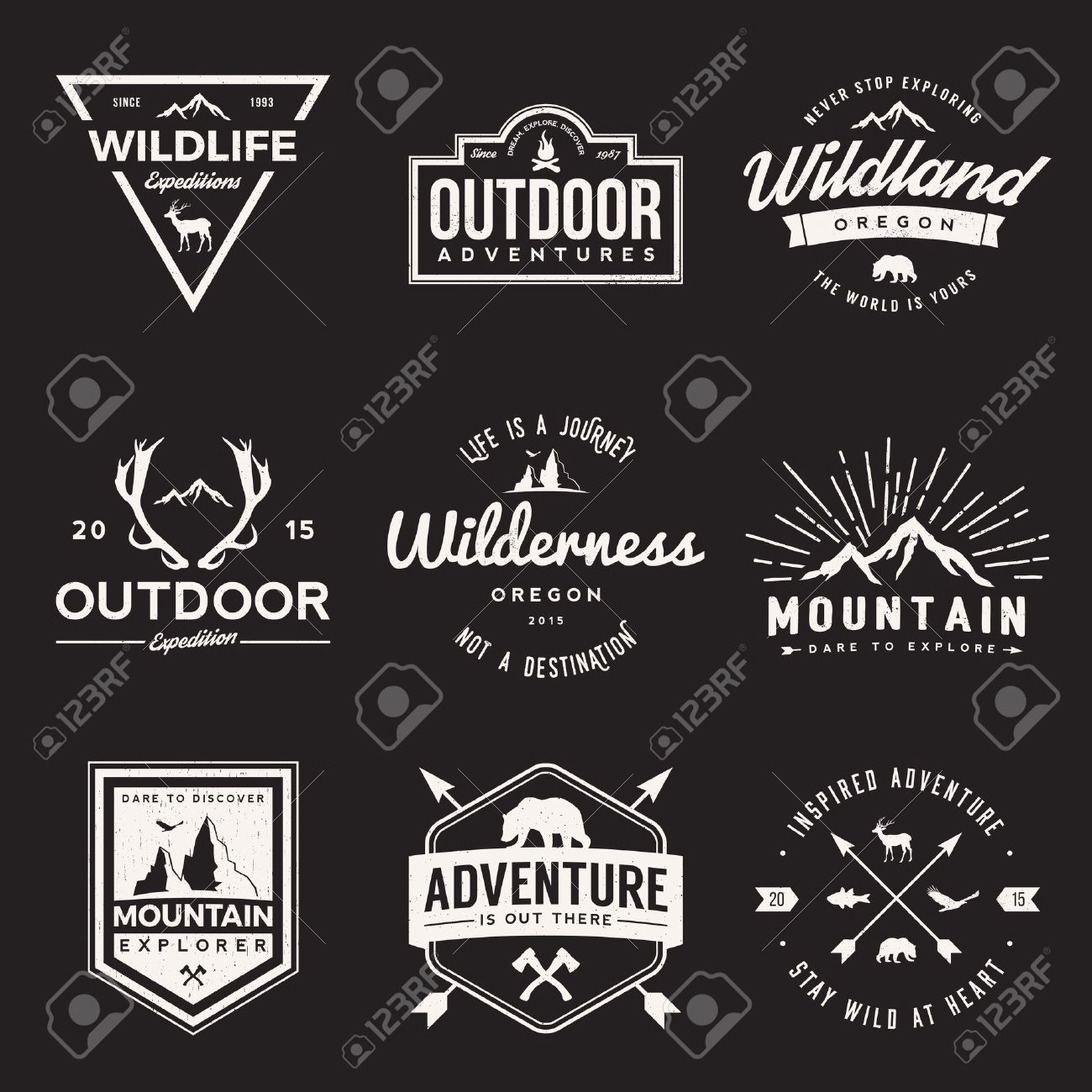 vector set of wilderness and nature exploration vintage logos, emblems, silhouettes and design elements. outdoor activity symbols with grunge textures - 42861968