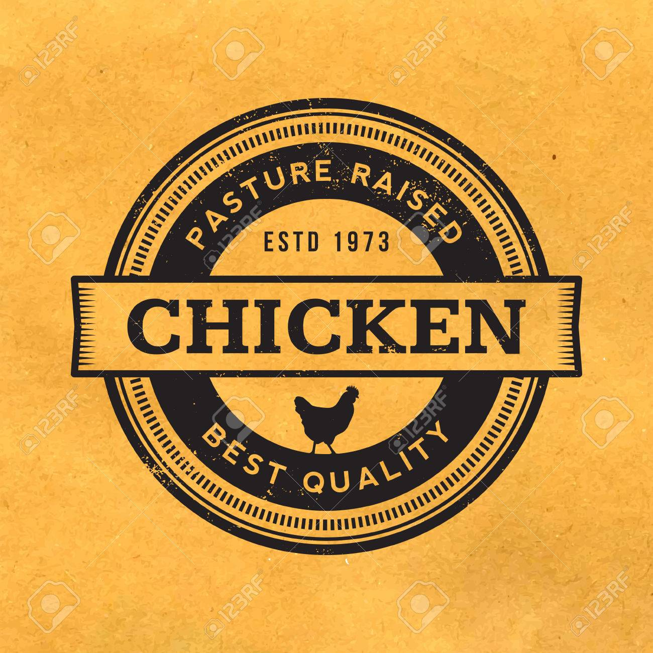 premium chicken meat label with grunge texture on old paper background - 42863234