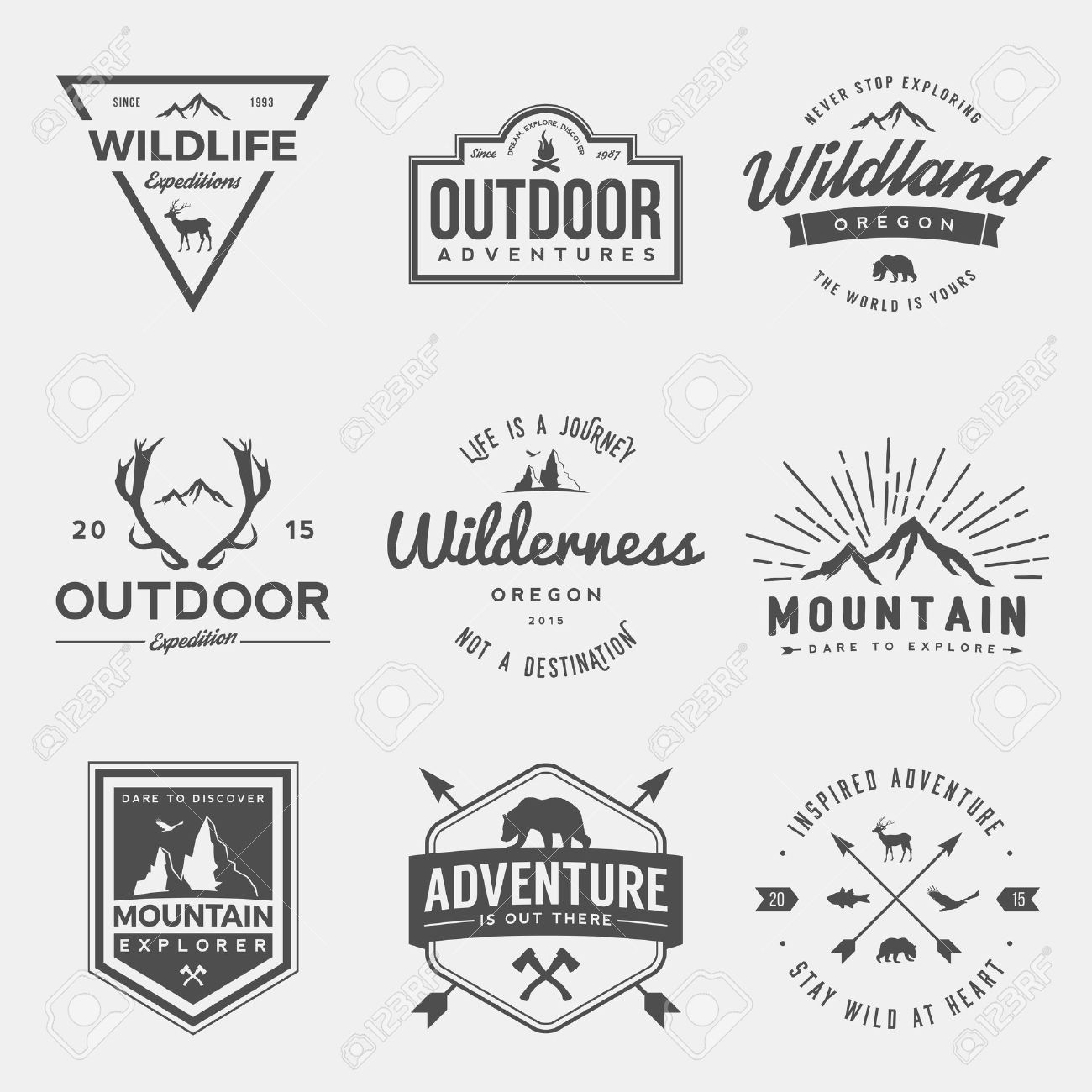 vector set of wilderness and nature exploration vintage logos, emblems, silhouettes and design elements - 42863868