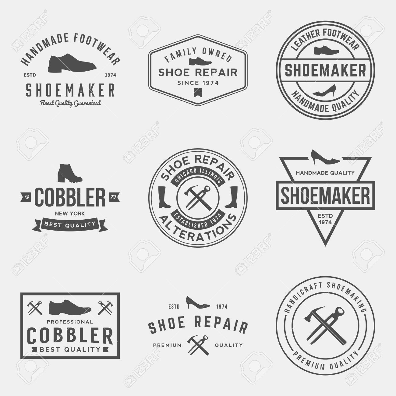 vector set of shoemaker and shoe repair labels, badges and design elements - 42864454