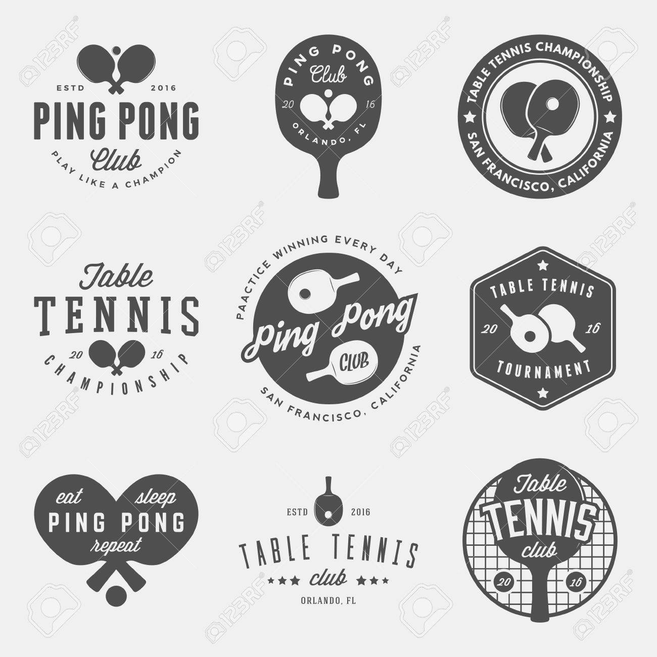 vector set of ping pong logos, emblems and design elements. table tennis logotype templates and badges - 71968522