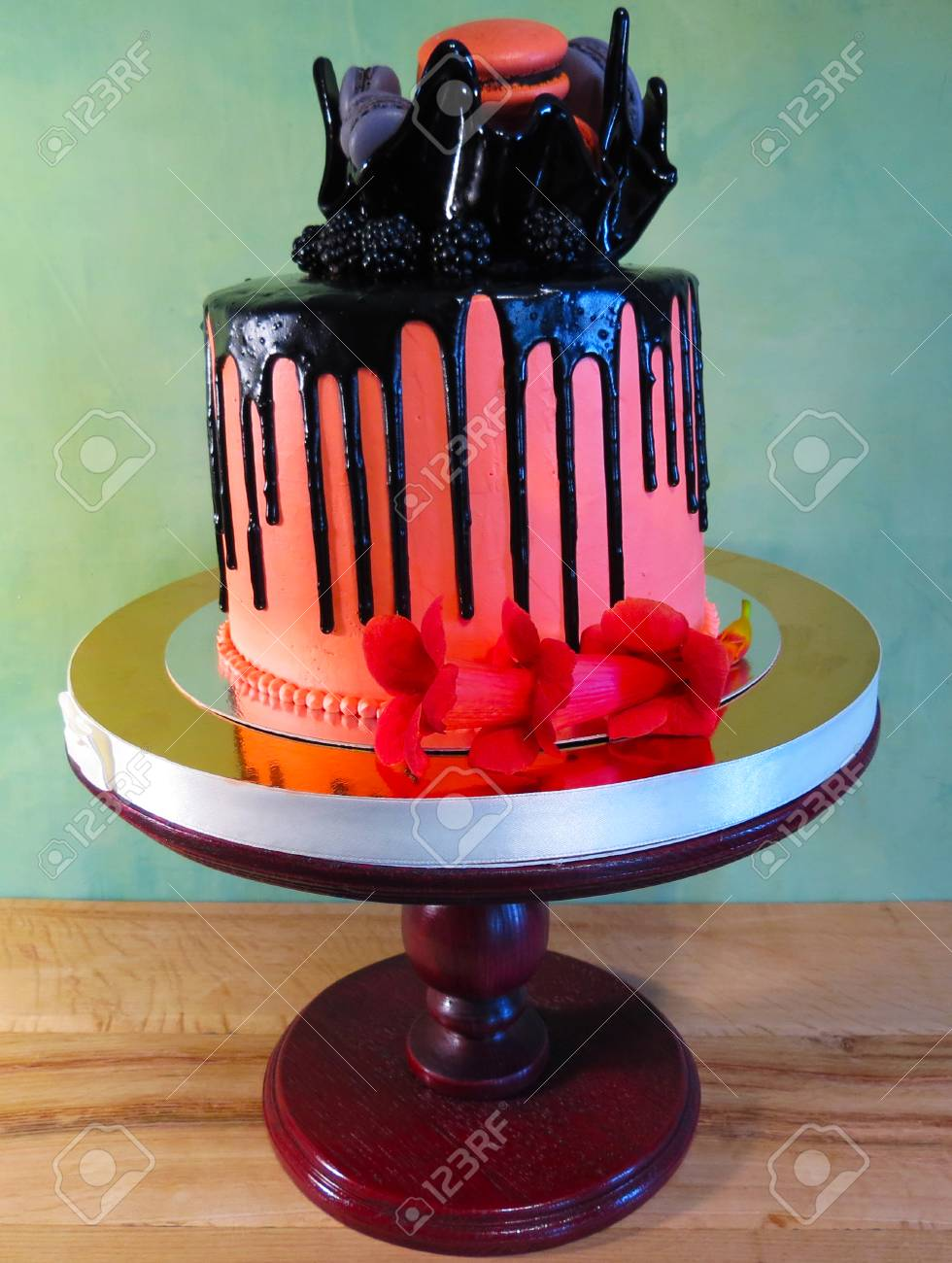 Astonishing Beautiful Birthday Cake Orange With Black Stains On A Green Personalised Birthday Cards Epsylily Jamesorg