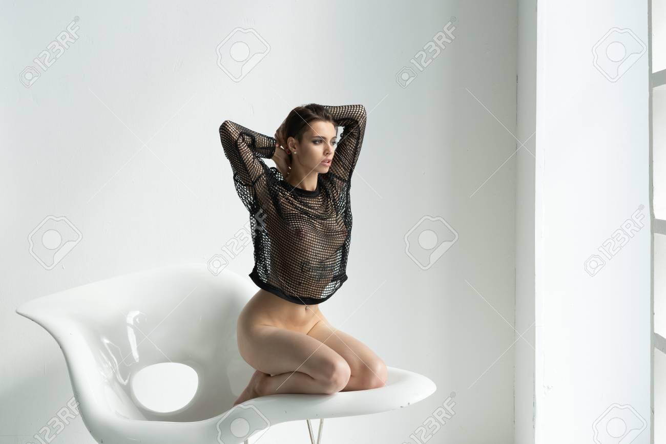 white beautiful girl in black lingerie - 120553012