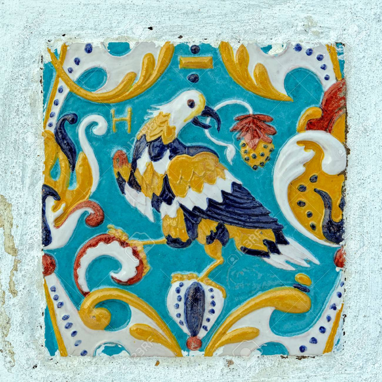 Traditional outside wall ceramic tile ornament decoration of stock traditional outside wall ceramic tile ornament decoration of the old russian church uglich russia dailygadgetfo Gallery