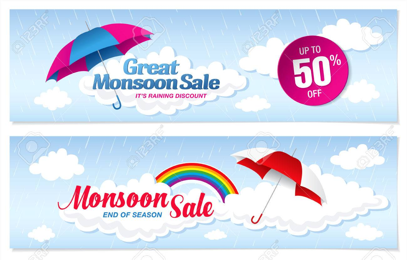 monsoon banner template design royalty cliparts vectors monsoon banner template design stock vector 56495724