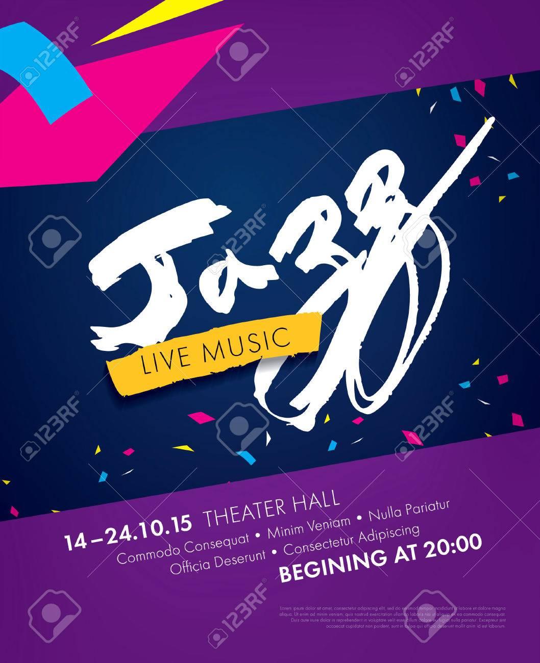 Festival De Jazz - Música En Vivo. Diseño De La Plantilla Del Cartel ...