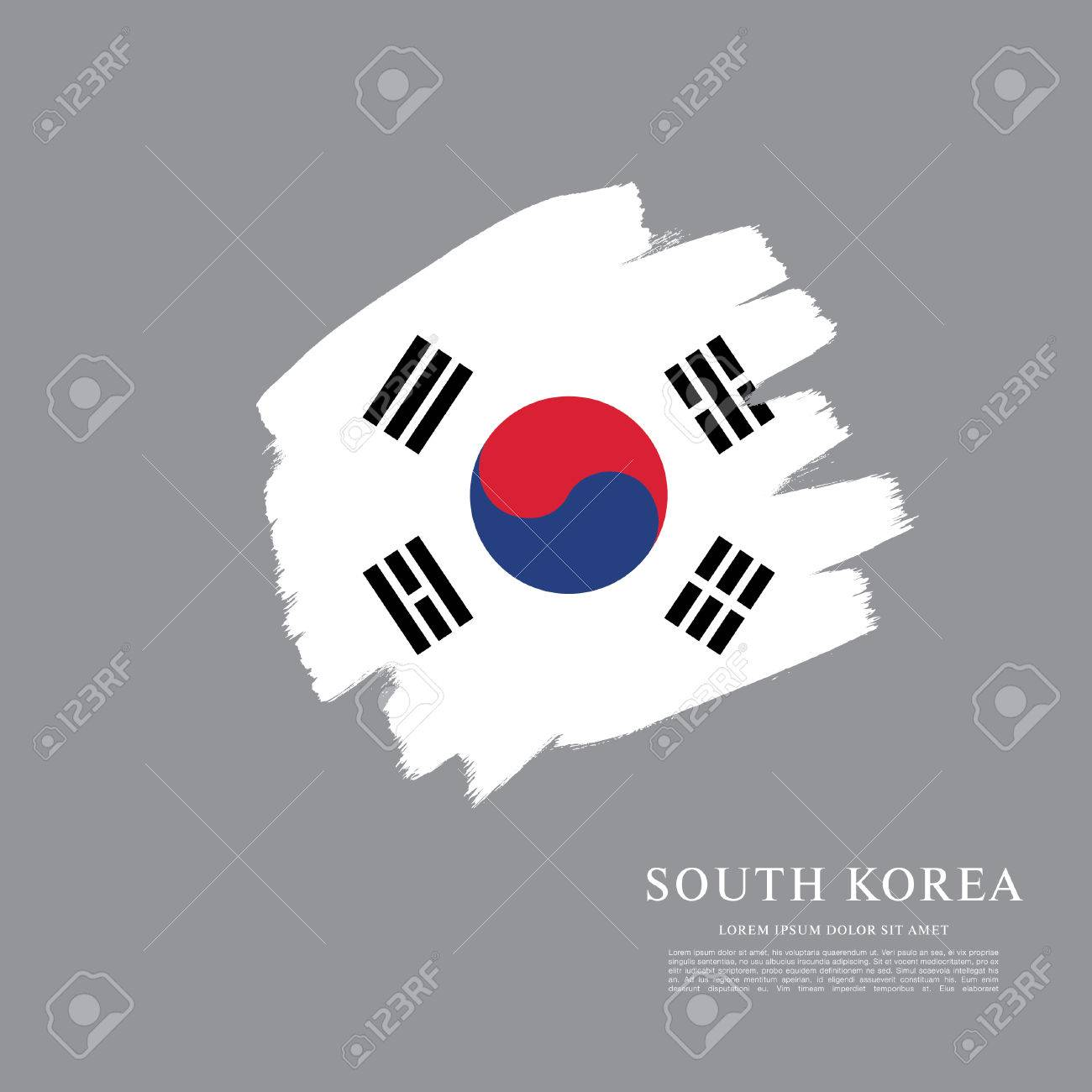 south korean flag made in brush stroke background royalty free