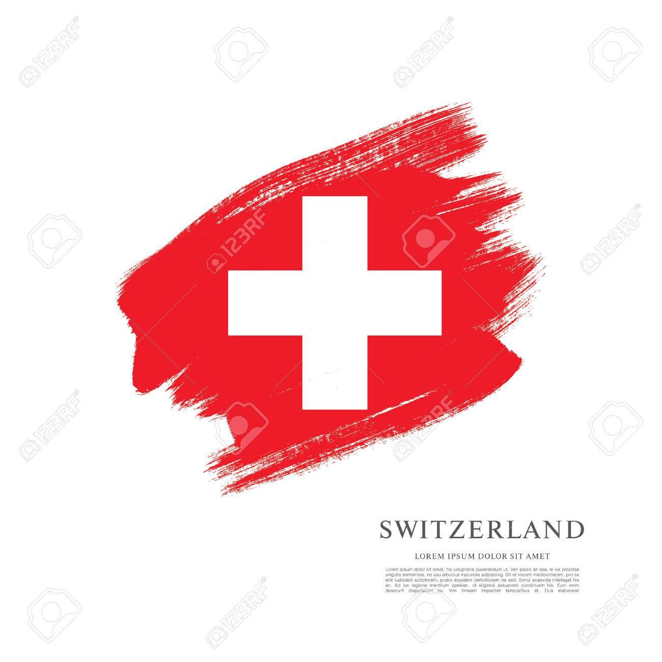 Flag of Switzerland. Brush stroke background - 61307288