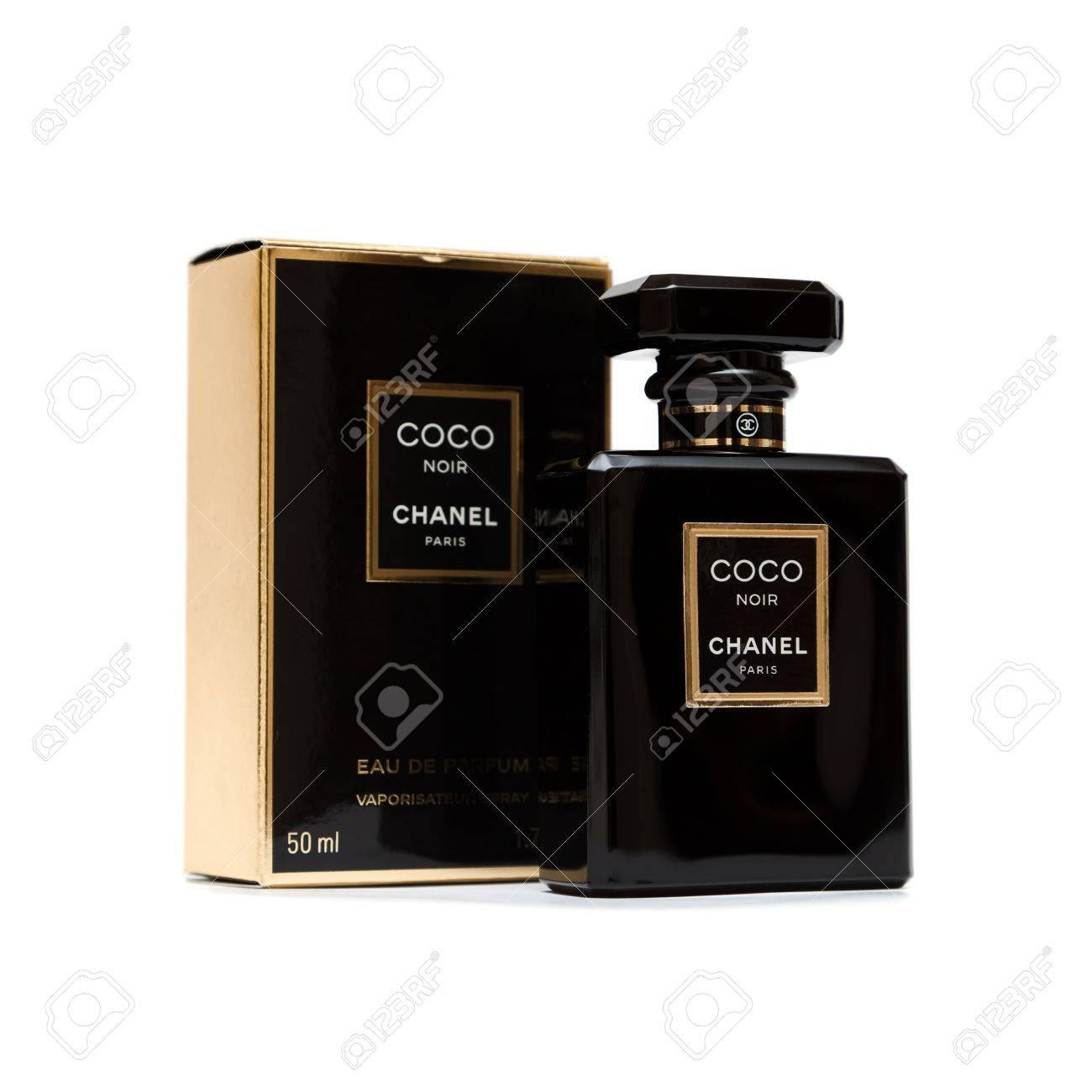 Russia October 11 2015 Coco Chanel Noir Black Perfume Bottle