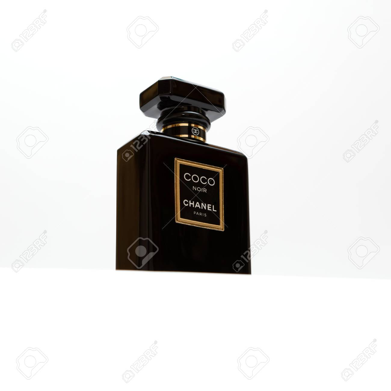 Russia October 11 2015 Coco Chanel Noir Black Perfume Bottle