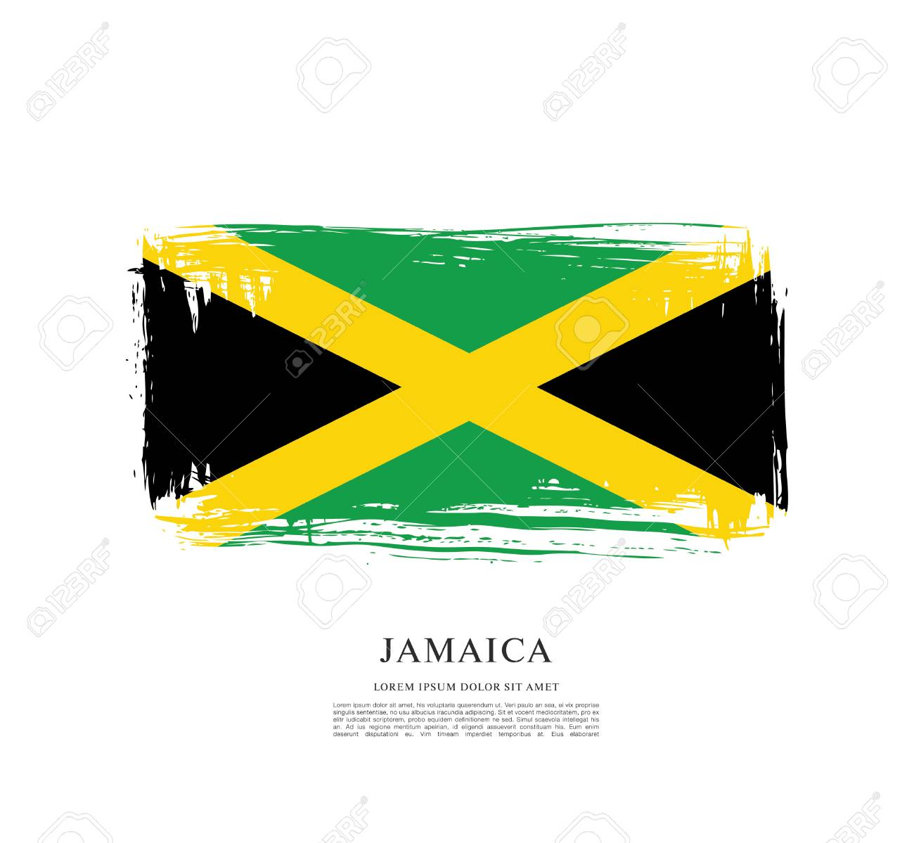 Flag Of Jamaica Brush Stroke Pattern Royalty Free Cliparts Vectors
