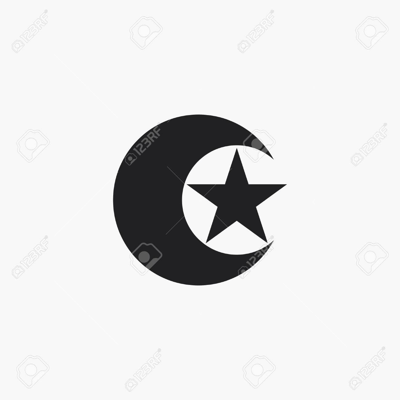 Moon And Star Icon Islam Symbol Royalty Free Cliparts Vectors And