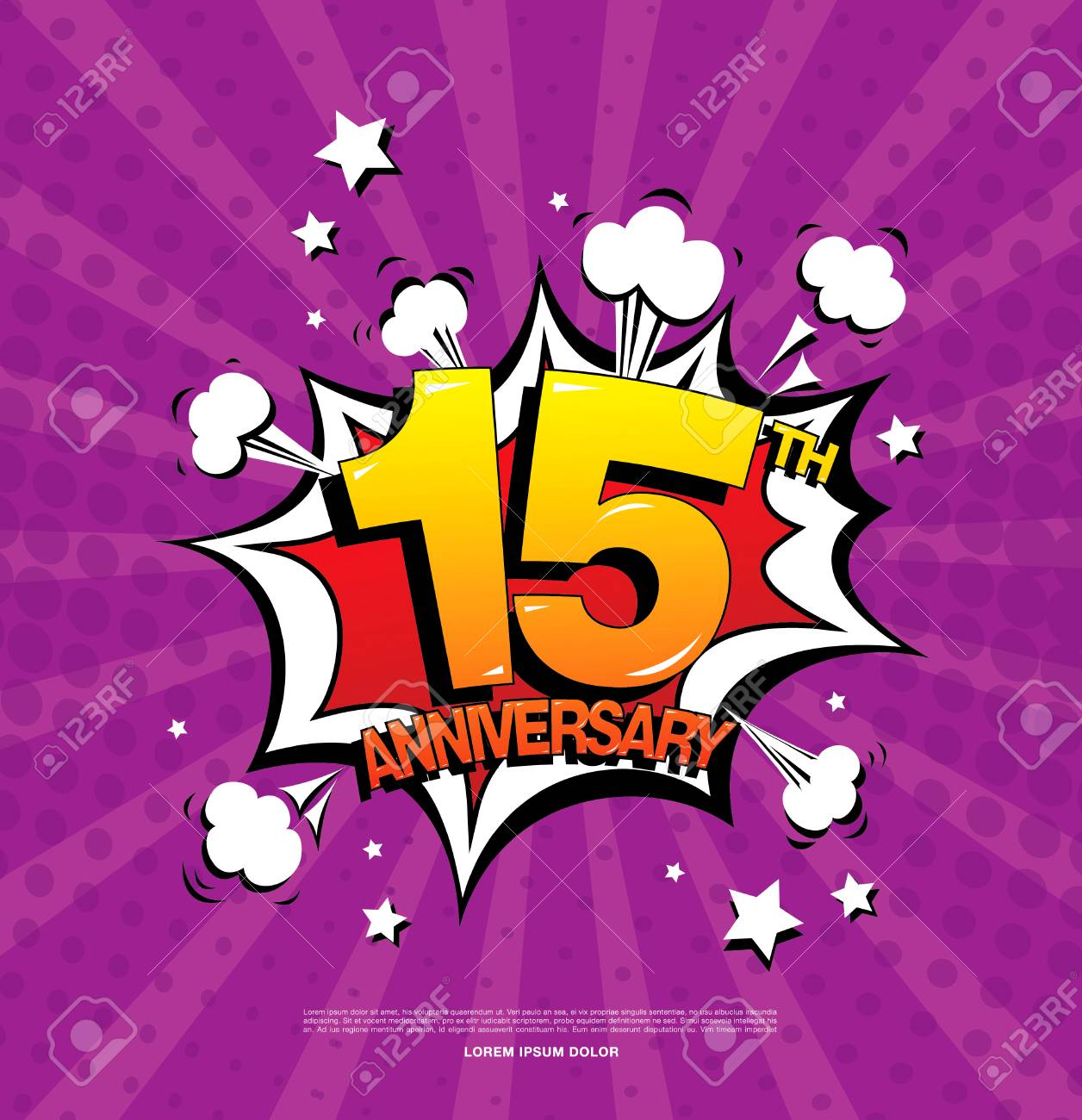 15th Anniversary Emblem Fifteen Years Anniversary Celebration