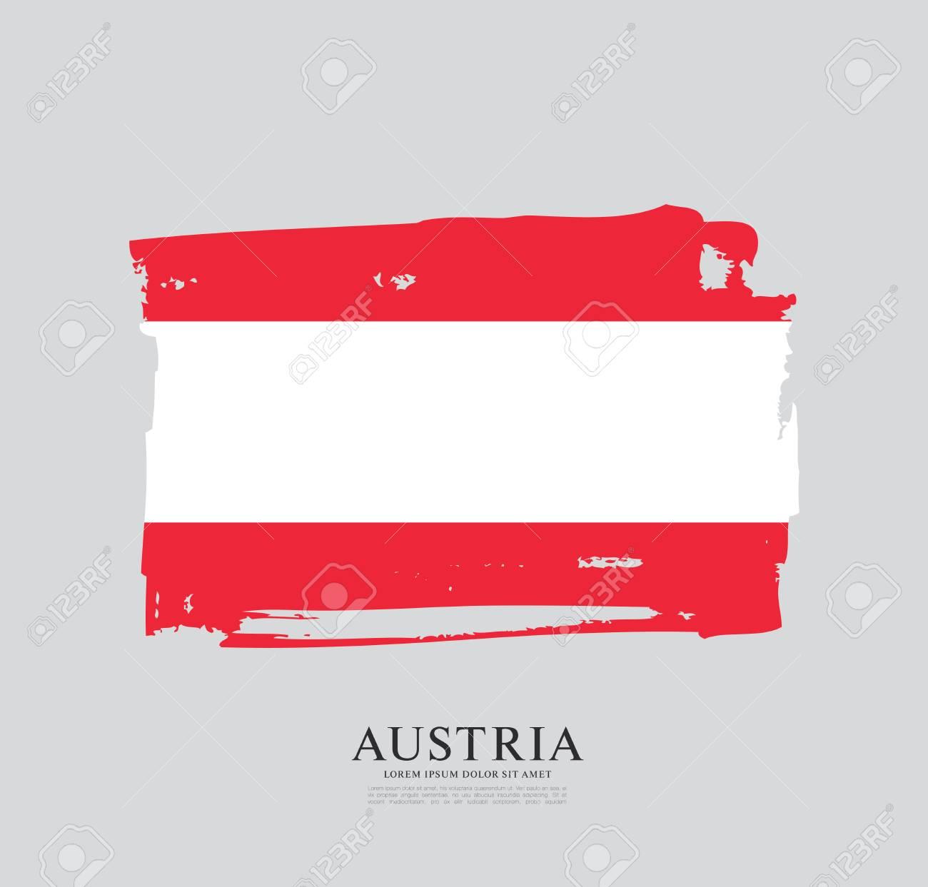 Flag of Austria, brush stroke background, vector illustration - 106761734