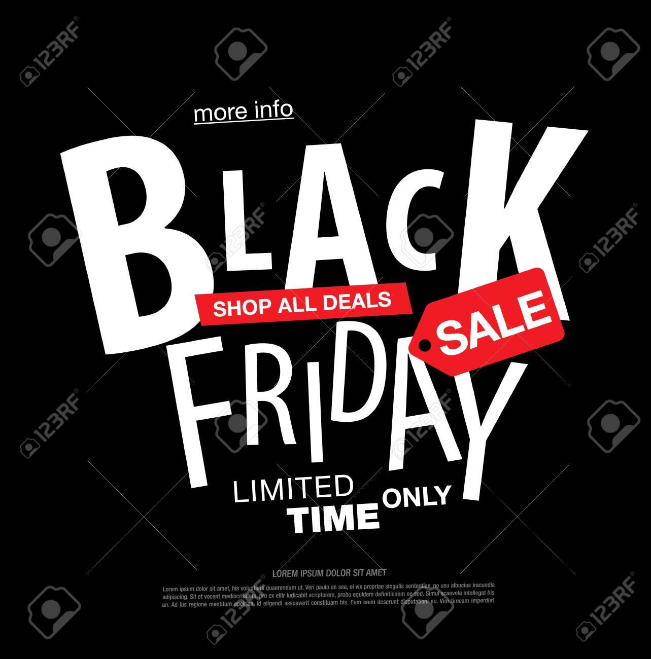 black friday sale label layout design, vector illustration - 134358997