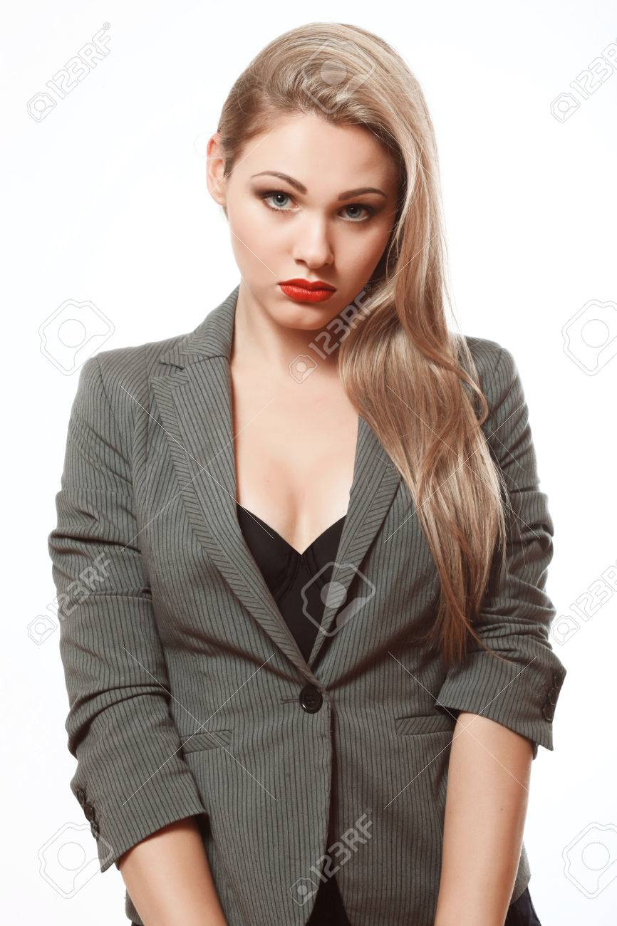 Secretary Beautiful Blonde In A Business Suit Disconcerted Stock