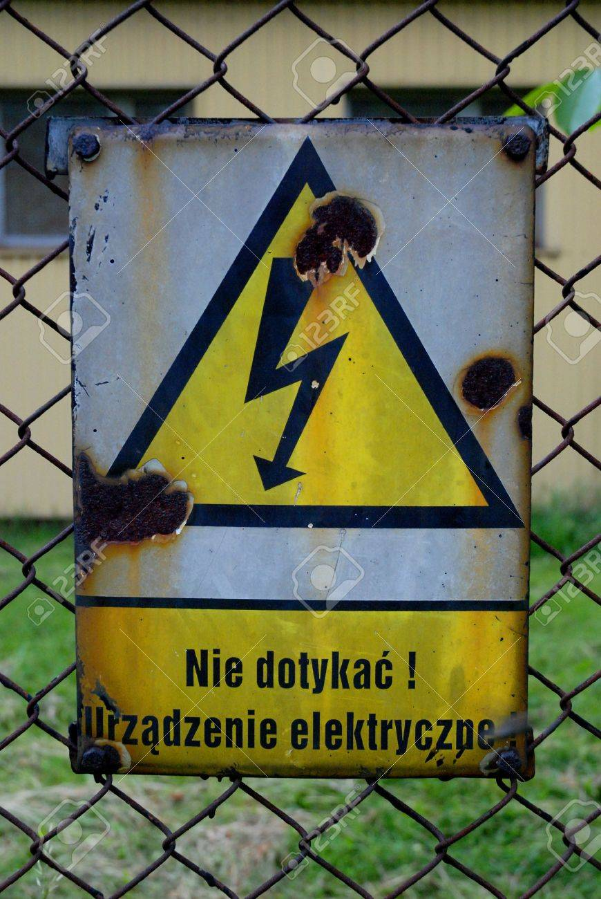 Warning ! electric installation - old polish sign Stock Photo - 2434073
