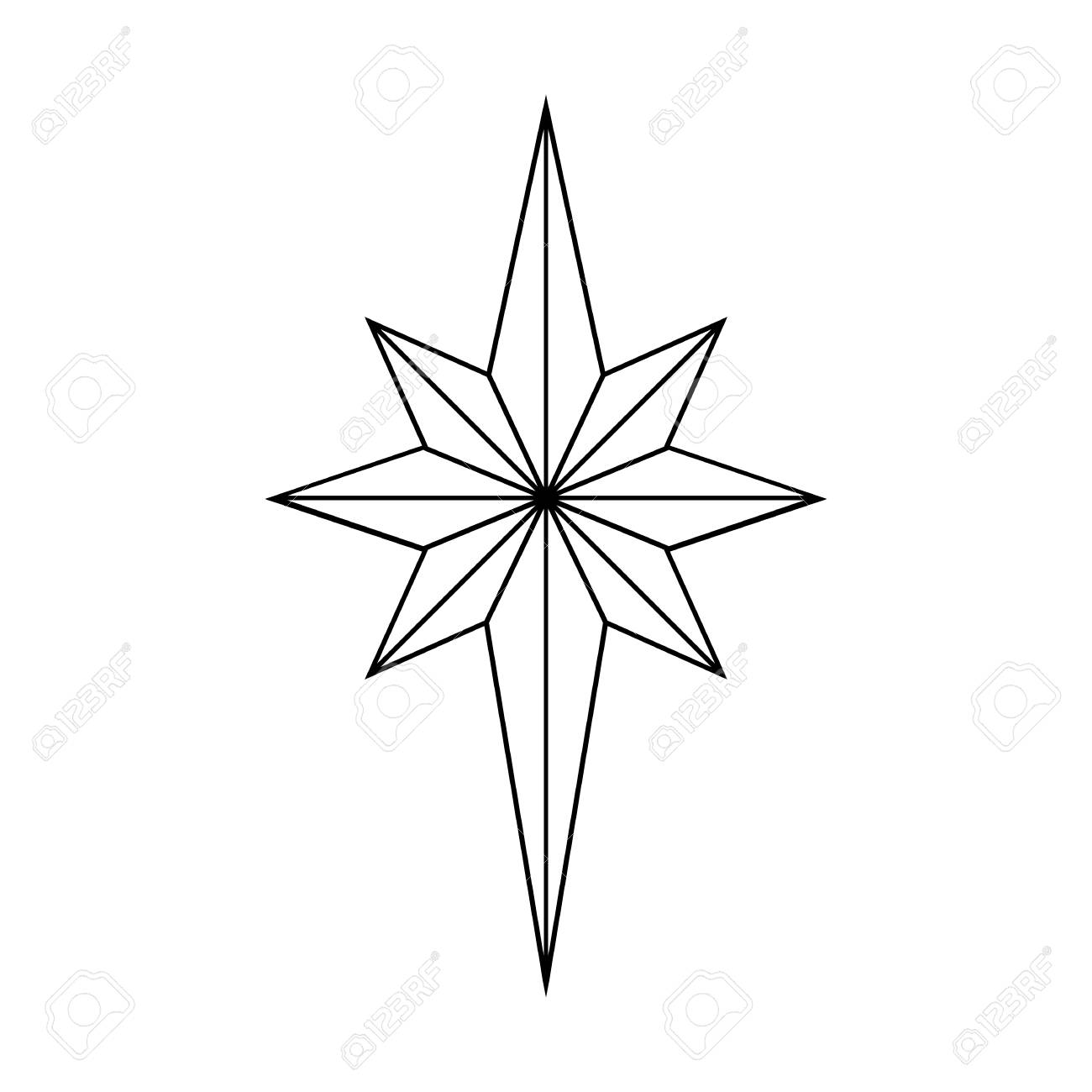 Star Outline Christmas Isolated On White Background Vector Illustration Stock
