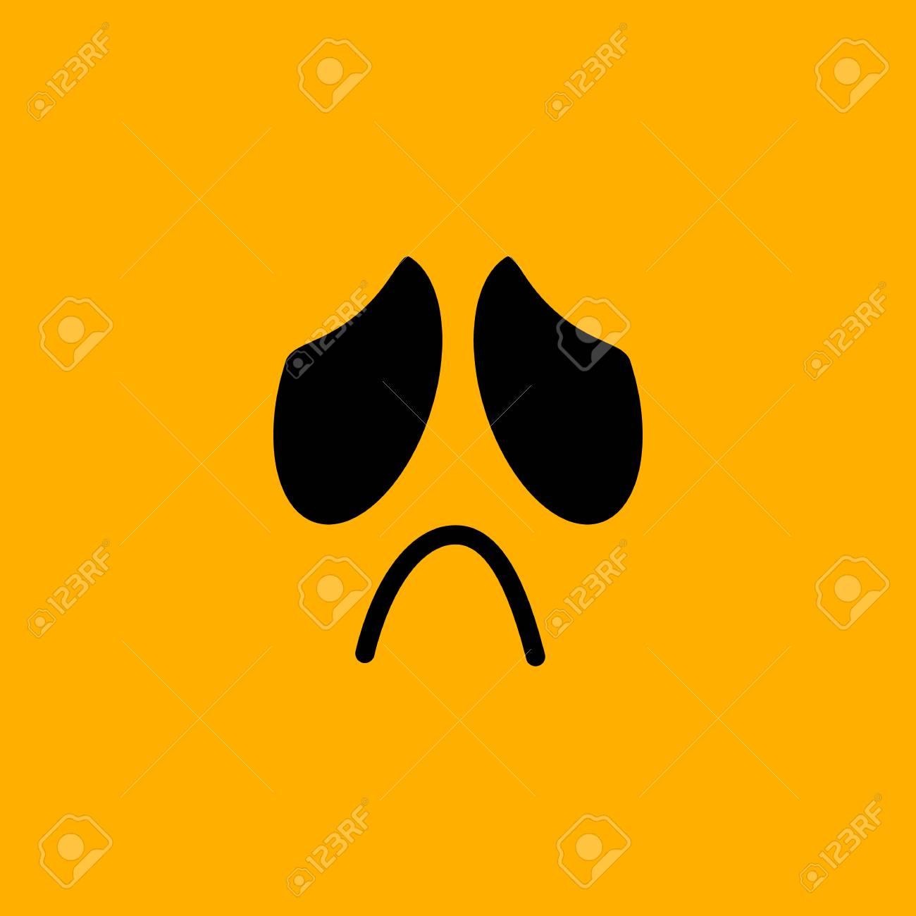 Yellow emoticon face, sad, vector illustration - 94158465
