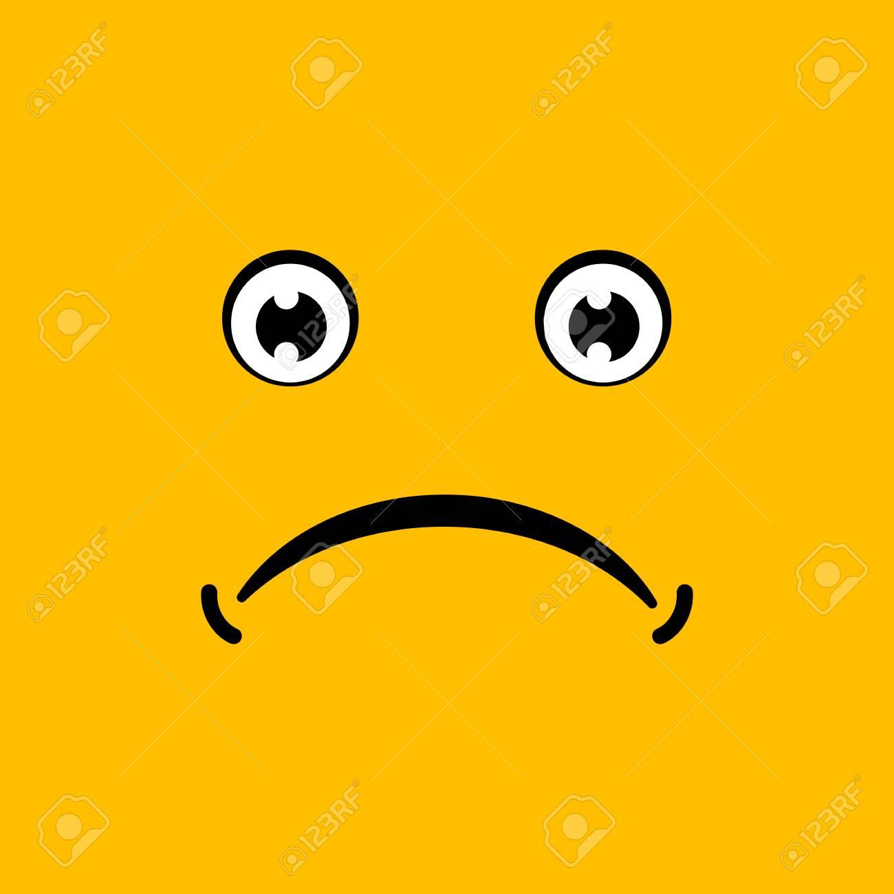 Yellow emoticon face, sad, vector illustration - 94158229