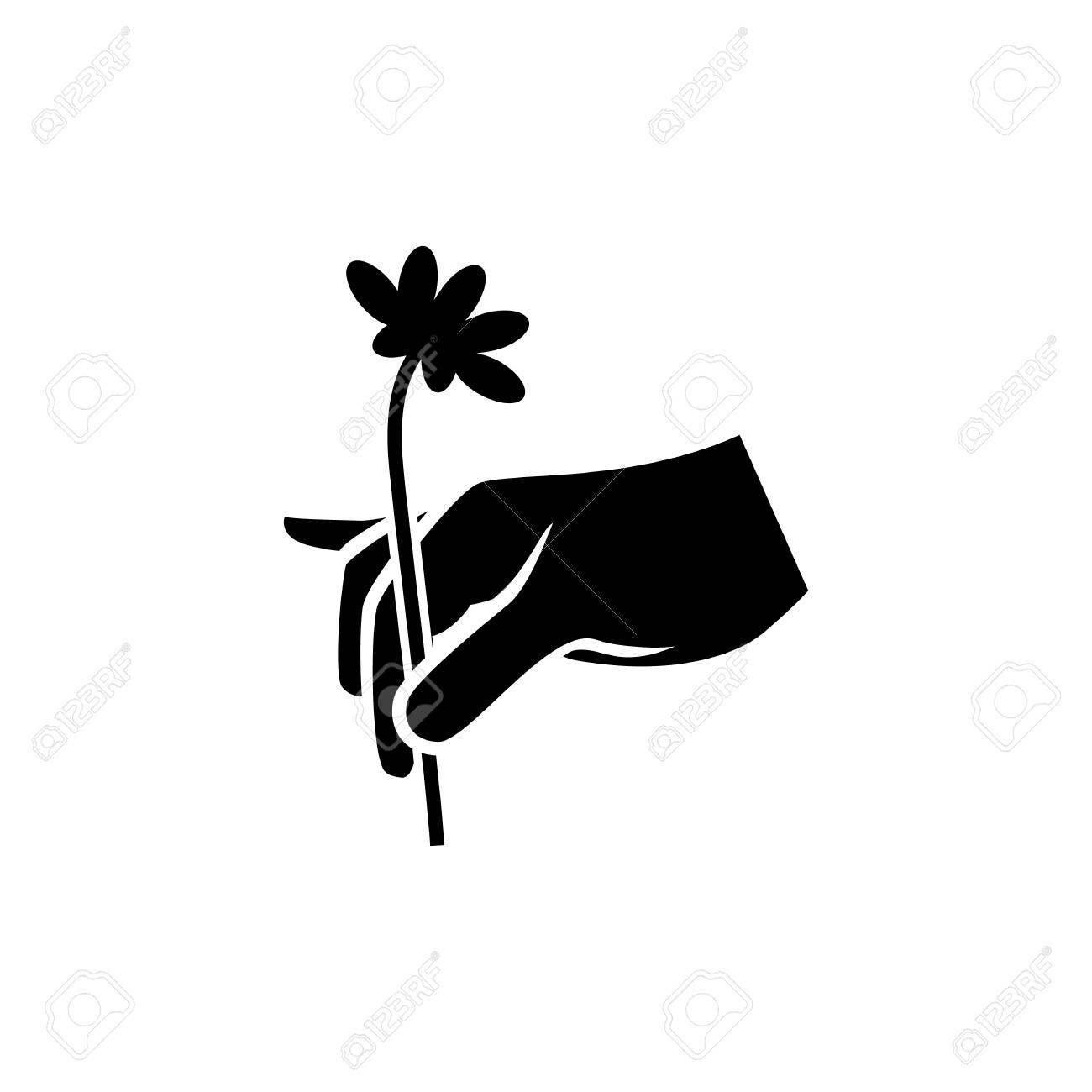 Black Silhouette Illustration Of Hand Picking A Flower Delicately