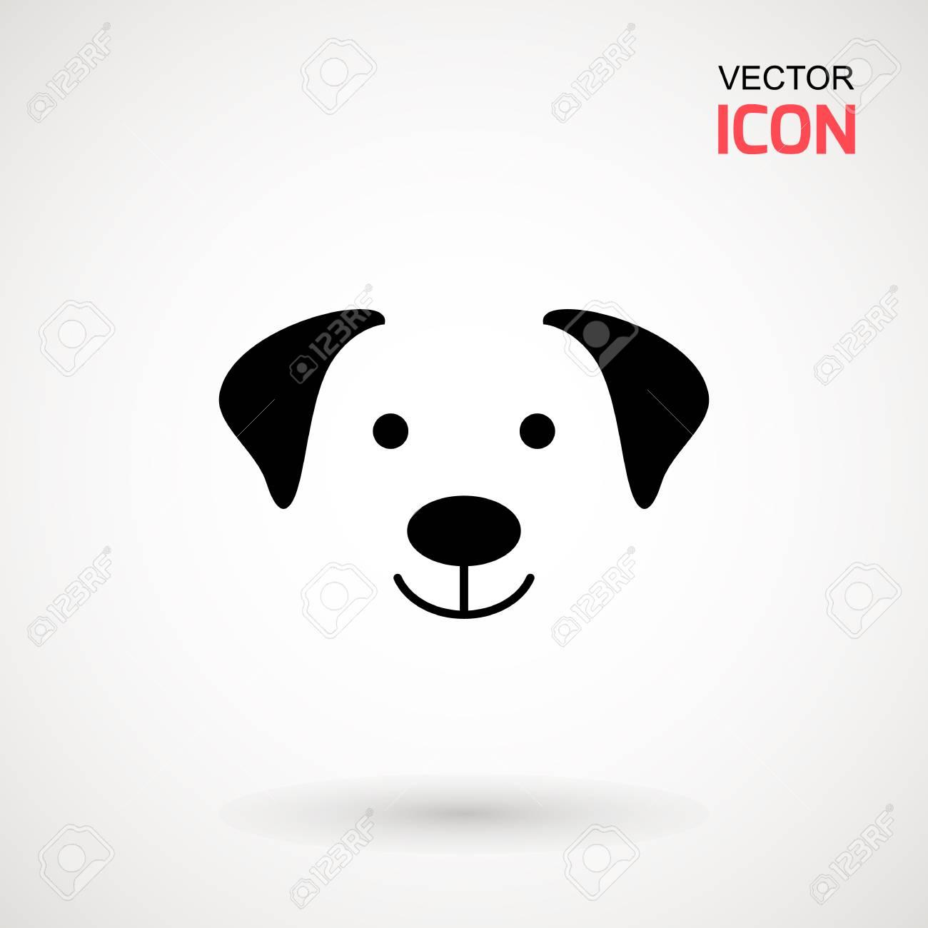 Dog head icon  Flat style  Cartoon dog face  Vector illustration