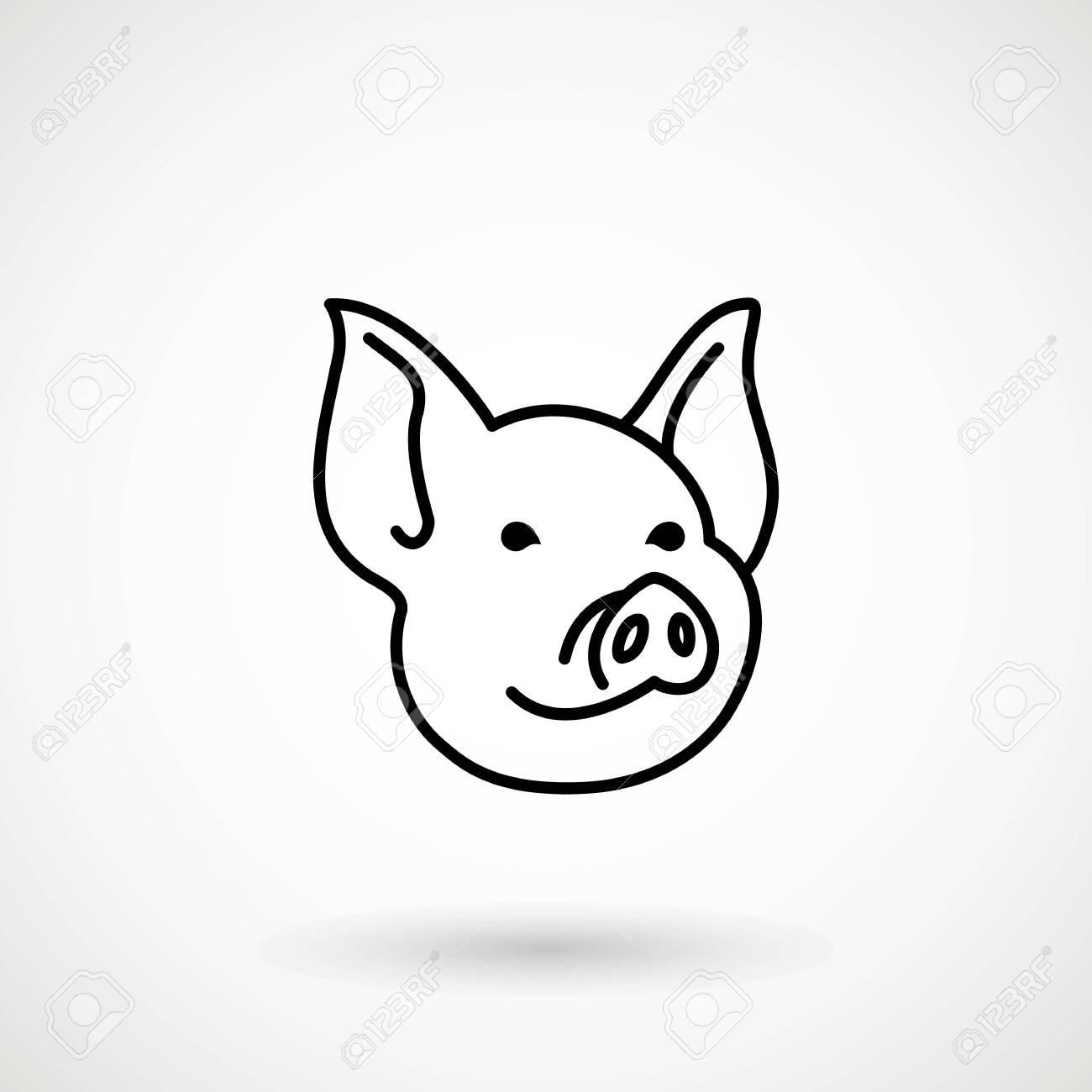 Pig line icon. Icon Piglet face in outline style. Icon of Cartoon pig head. Chinese New Year 2019. Zodiac. Chinese traditional Design, decoration Vector illustration. - 143667549