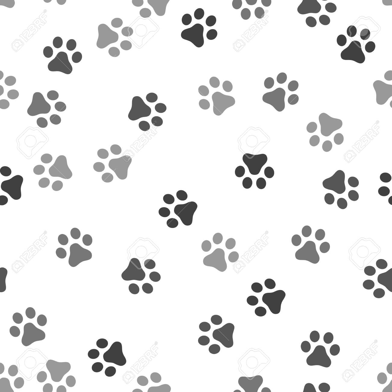 Dog Paw Seamless Pattern Vector Footprint Kitten Puppy Tile Background Royalty Free Cliparts Vectors And Stock Illustration Image 120383302