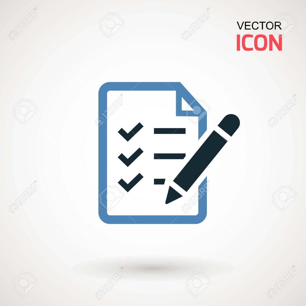 Checklist icon. Declarations linear icon. Flat illustration of clipboard with checklist - 123403252