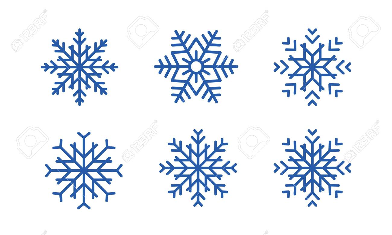 Blue snowflakes set new year vector design. set of blue snowflakes on white background. - 129229641
