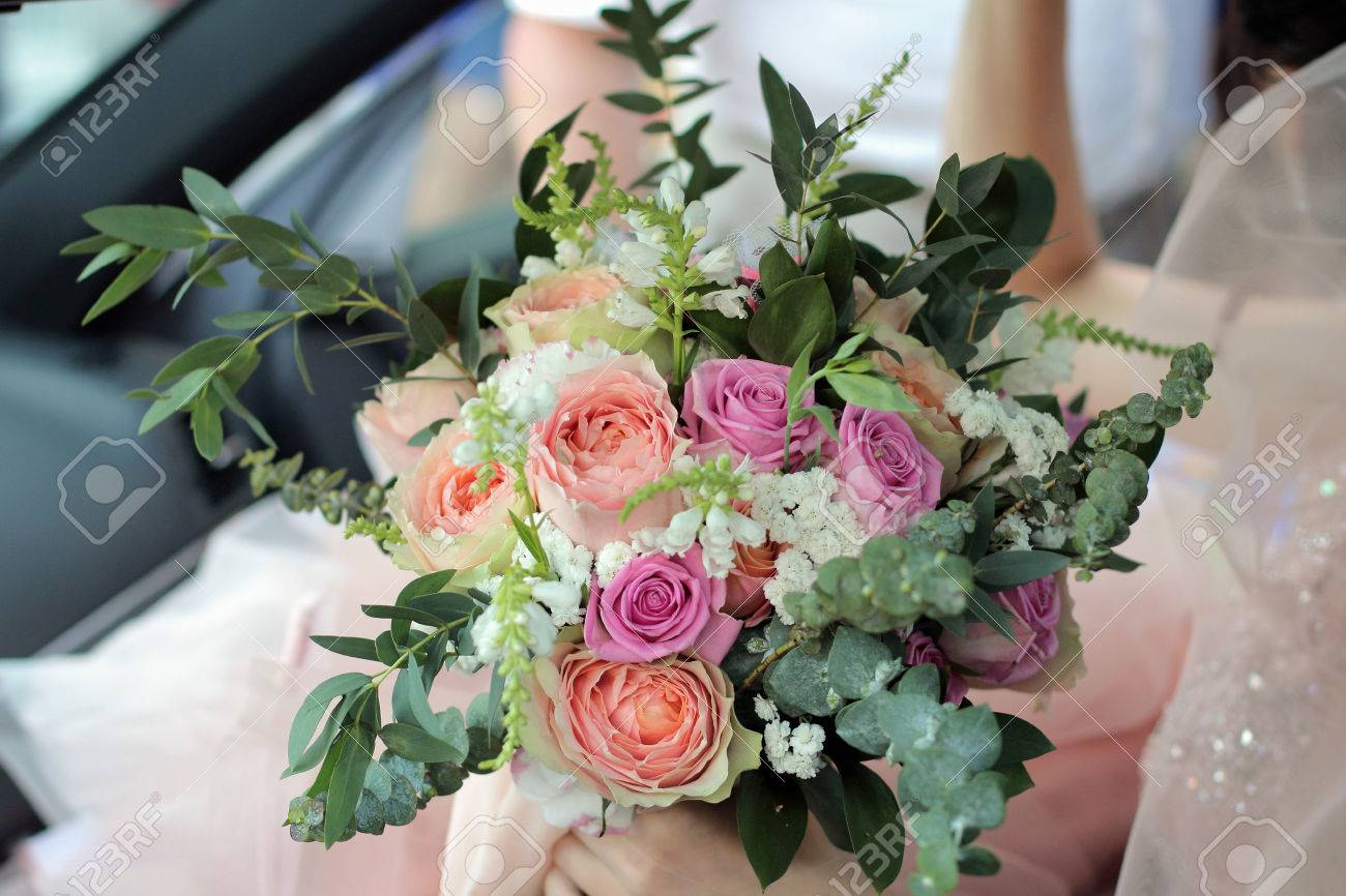 Bride Holding A Beautiful Bridal Bouquet Wedding Bouquet Of Stock