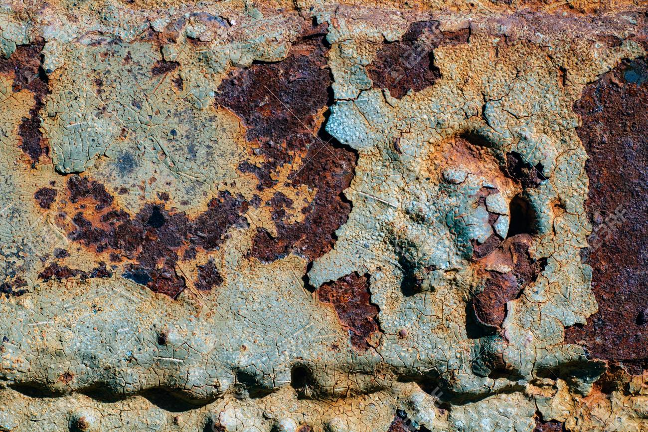 Textura De Hierro Oxidado, Pintura Agrietada En Una Superficie ...