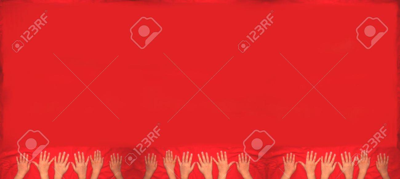 Red Background With Kids Hands Stock Photo Picture And Royalty Free Image Image 15566997