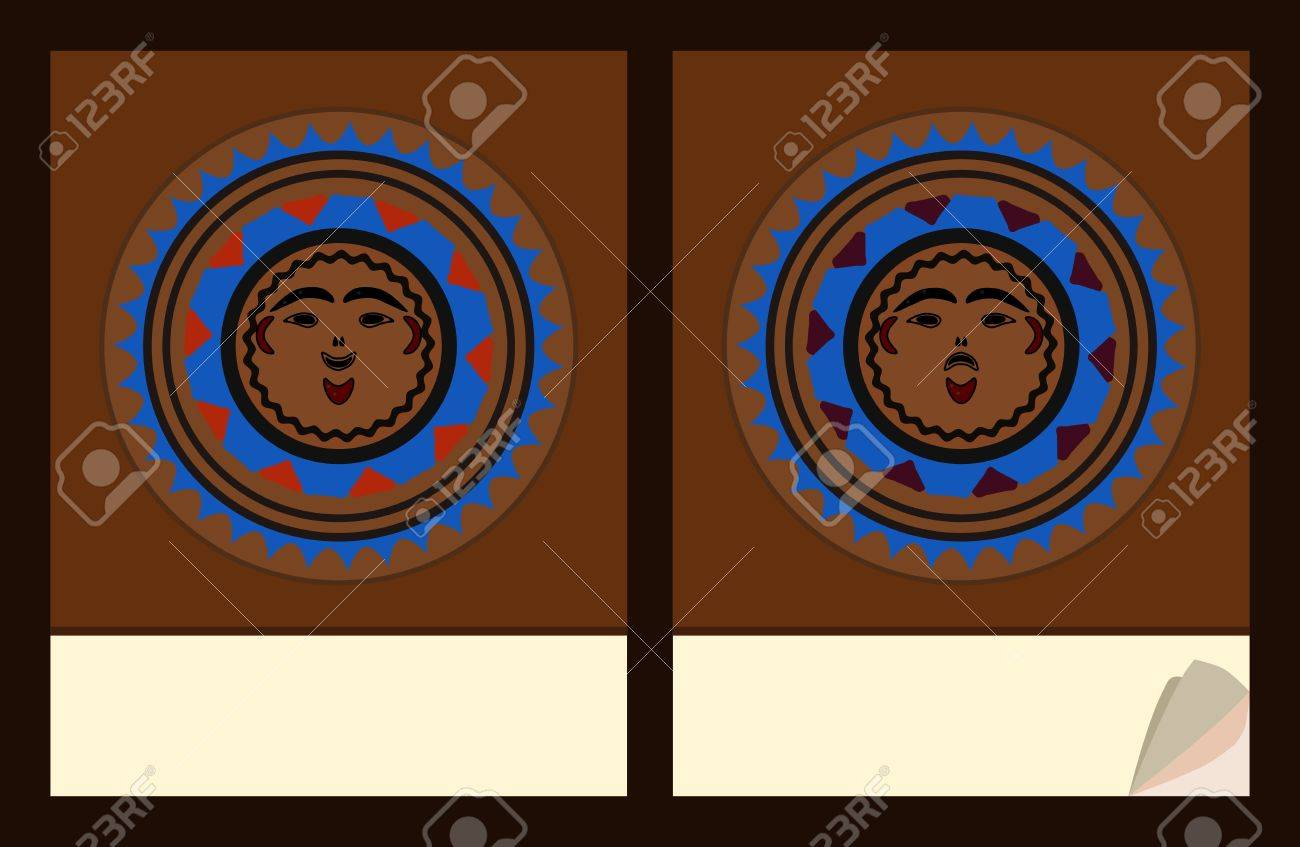 notepad cover templates with native american masks motive royalty