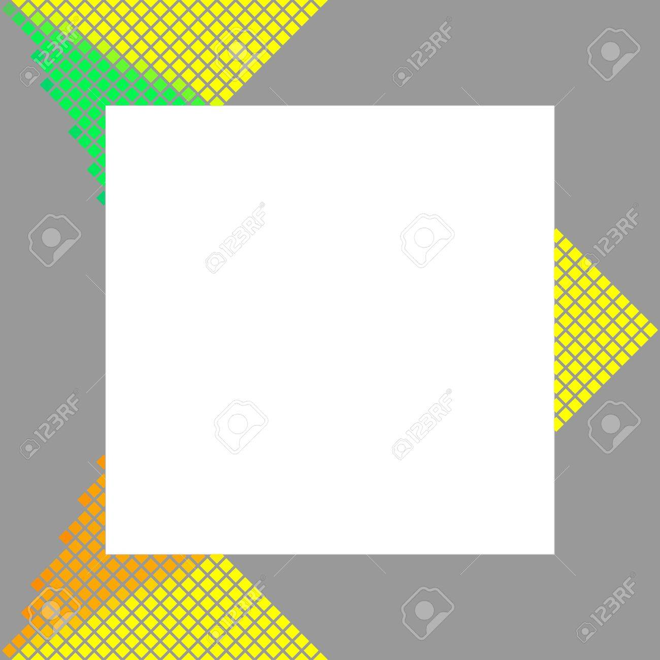 Modern Gray Frame With Yellow Orange Green Pixelated Design Element