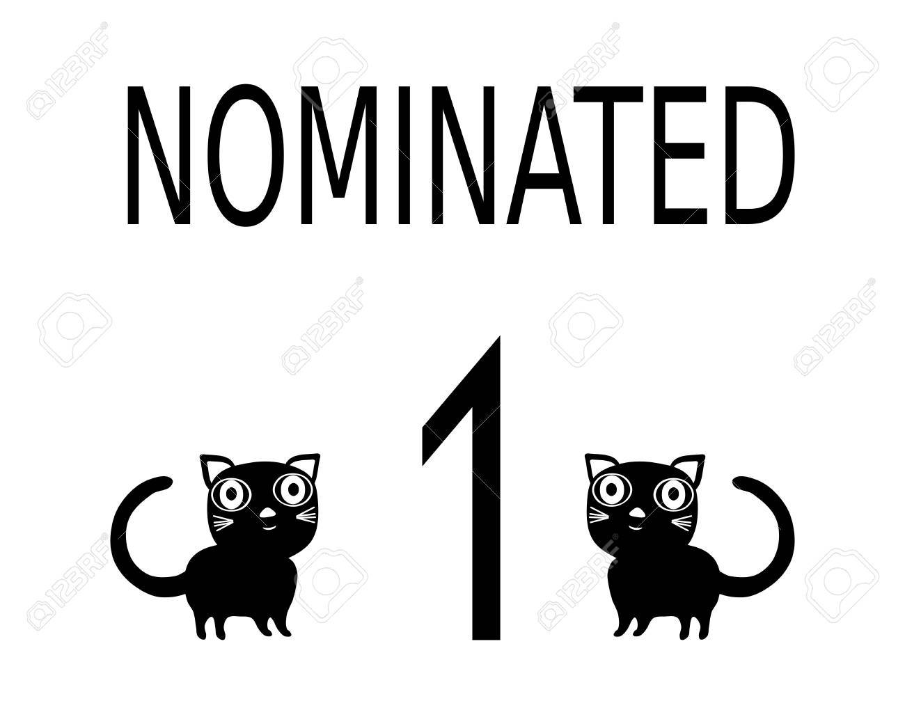 Simple Black White Card With Inscription Nominated Two Cats