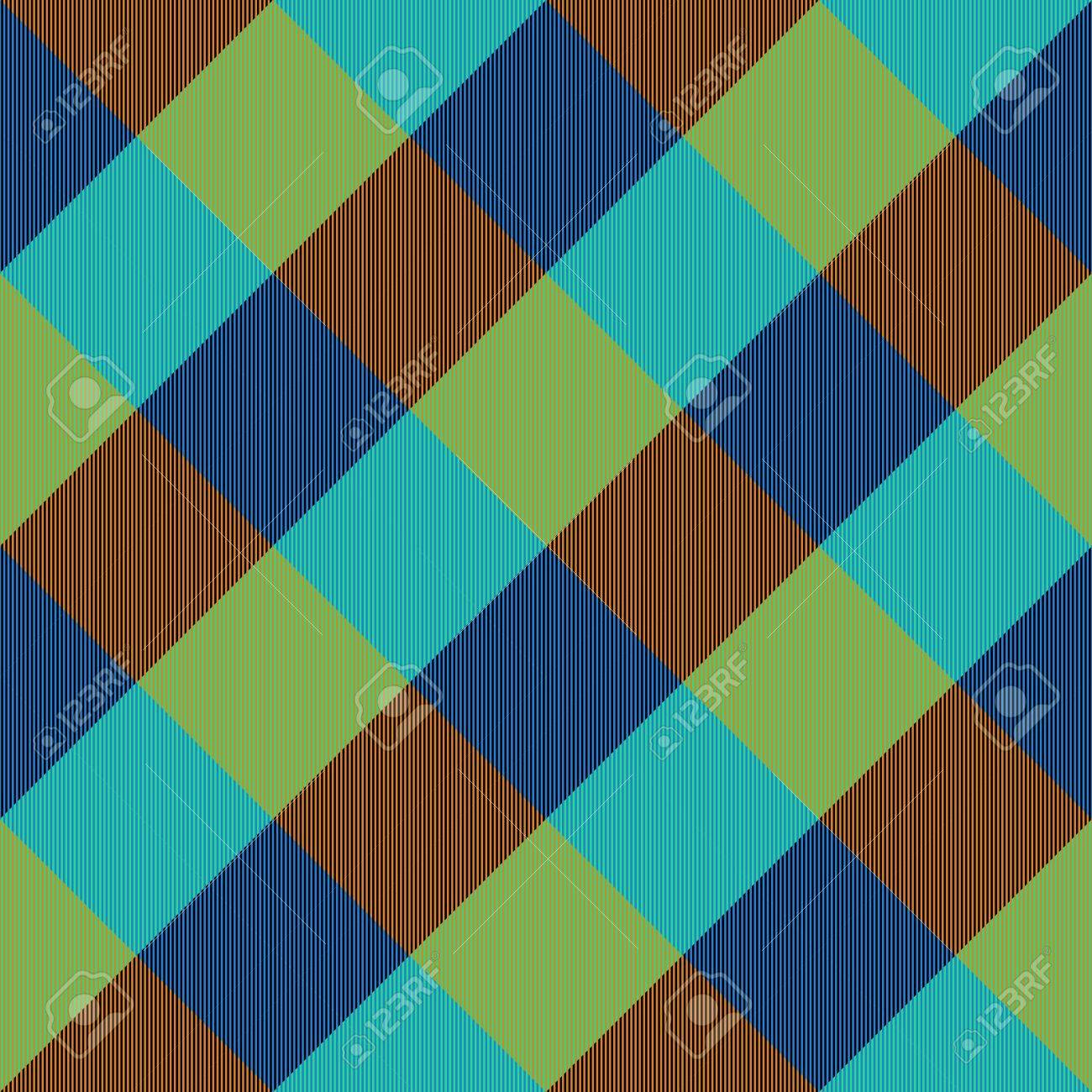 Abstract Turquoise Blue Brown Yellow Checkered Pattern With Complementary Colors Stock Photo