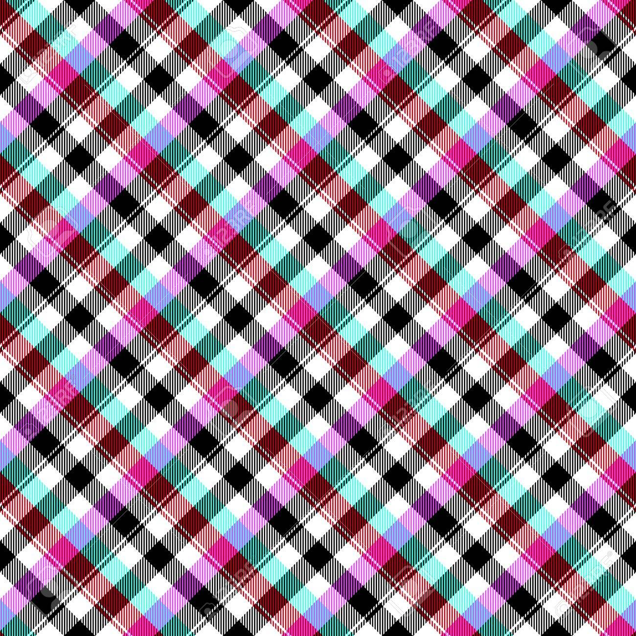 Abstract Blue Red Purple Black White Checkered Diagonally Seamless
