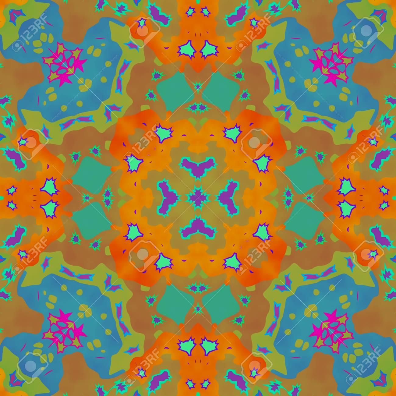 6cb4fbf8 Abstract seamless ornamental kaleidoscopic pattern in tie-dye style Stock  Photo - 49914338