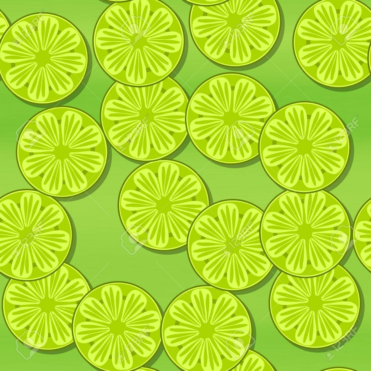 Yellow Green Wallpaper With Slices Of Citrus Lime Or Lemon Stock