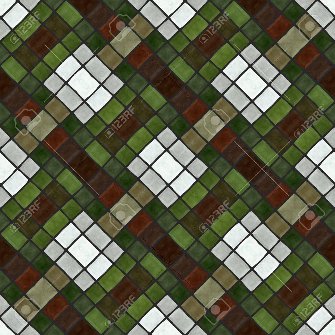 Zusammenfassung Karierten Grun Braun Weiss Grau Mosaik Fliesen Muster