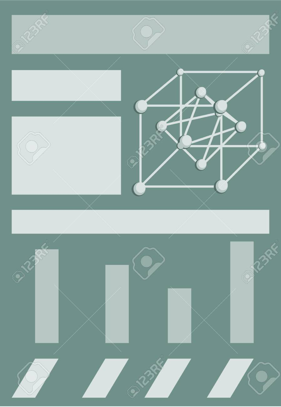Infographic template with crystal lattice of silver, bar chart,